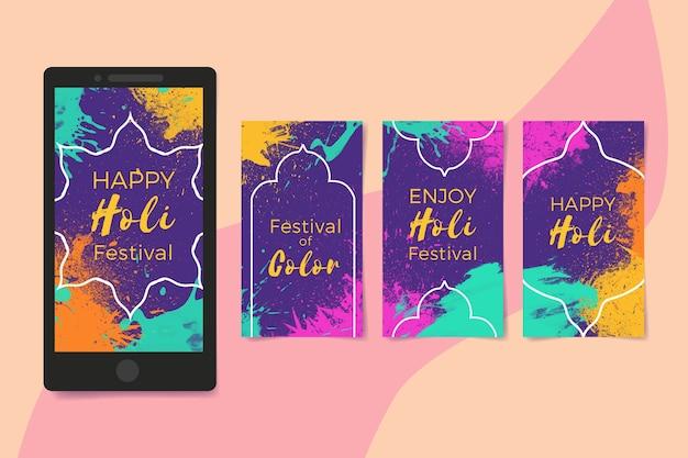 Holi festivalthema für instagram geschichtensammlung