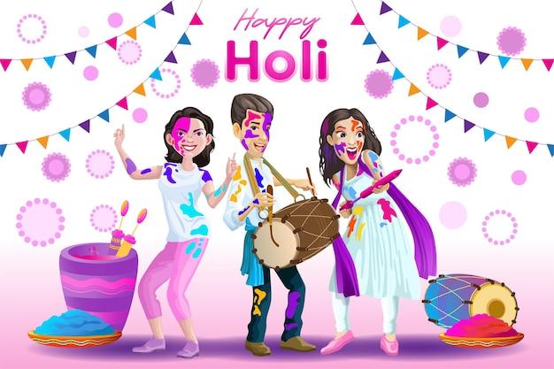 Holi-grüße mit freudigen indischen tänzern und schlagzeugern