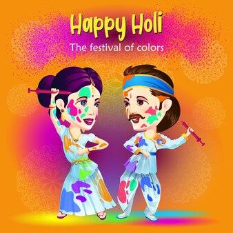Holi-grüße mit traditionellen tänzern