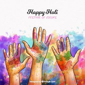 Holi-hintergrund mit drei händen