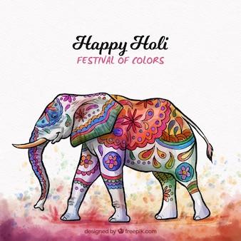 Holi-hintergrund mit elefanten