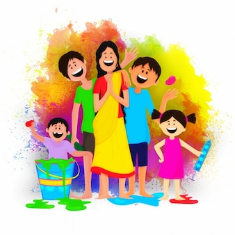 Holi hintergrund mit glückliche familie