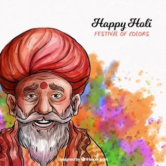 Holi hintergrund mit guru