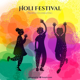 Holi hintergrund mit silhouetten von tanzenden menschen