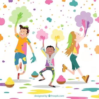 Holi-hintergrunddesign mit frohen kindern