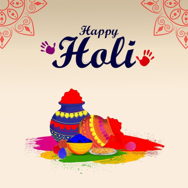Holi indian festivalfeier mit farbschlammtopf und ballon