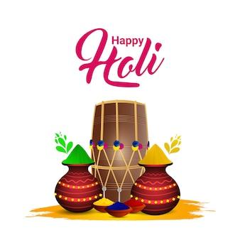 Holi indischer festivalhintergrund mit kreativen elementen und buntem gulal