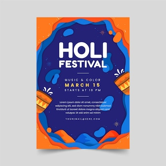 Holi party poster mit traditionellen gläsern