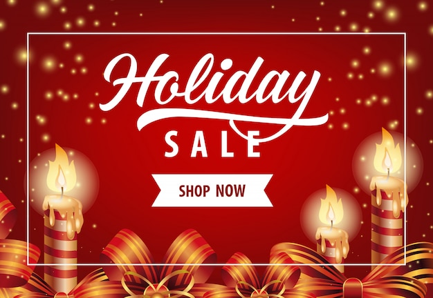 Holiday sale mit kerzen-poster-design