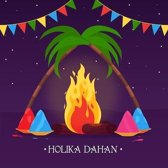 Holika dahan illustration mit lagerfeuer und girlanden