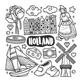 Holland icons hand gezeichnete doodle färbung