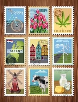 Holland-reisestempel set poster