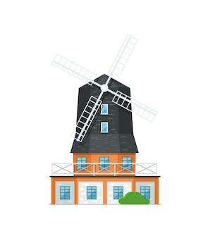 Holland windmühle isoliert auf weißem symbol
