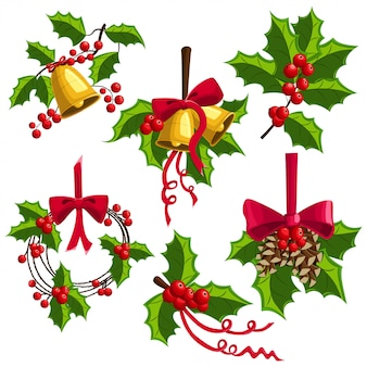Holly berry weihnachtsdekoration mit glocken, bogen und tannenzapfen gesetzt