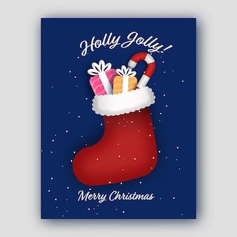Holly jolly frohe weihnachten konzept mit geschenkboxen, candy cane inside 3d santa socke auf blauem schneefall hintergrund.