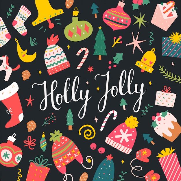 Holly jolly schriftzug karte für weihnachten
