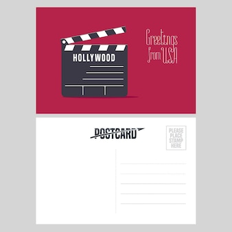 Hollywood clapper board illustration. element für luftpostkarte aus den usa für die reise nach amerika konzept gesendet