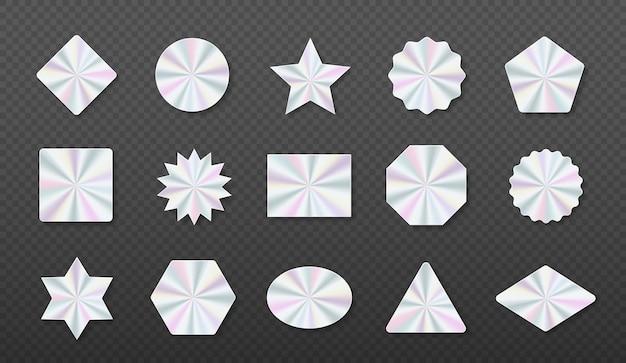Holografische aufkleber hologramm-etiketten in verschiedenen formen geometrisches holografisches etikett für design