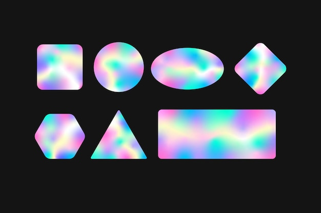 Holografische geometrische aufkleber mit farbverlaufsvorlage