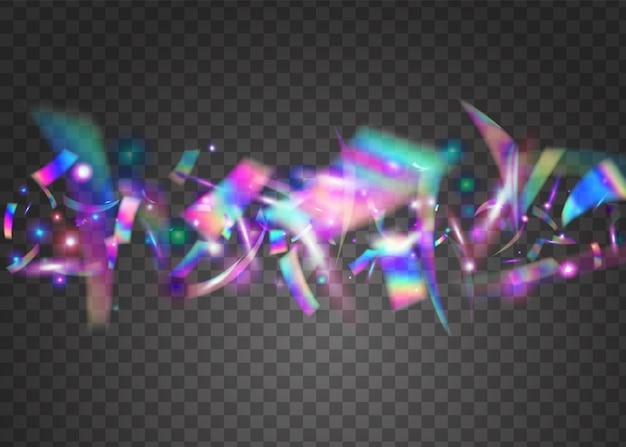 Hologramm-glitter. prismatische abbildung zu verwischen. glänzendes prisma. fiesta-kunst. bokeh-effekt. neon konfetti. rosa metallhintergrund. digitale folie. blaues hologramm glitzer