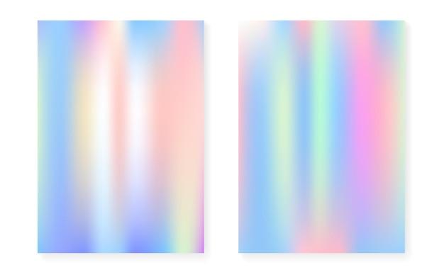 Hologramm-gradientenhintergrund eingestellt mit holographischer abdeckung.