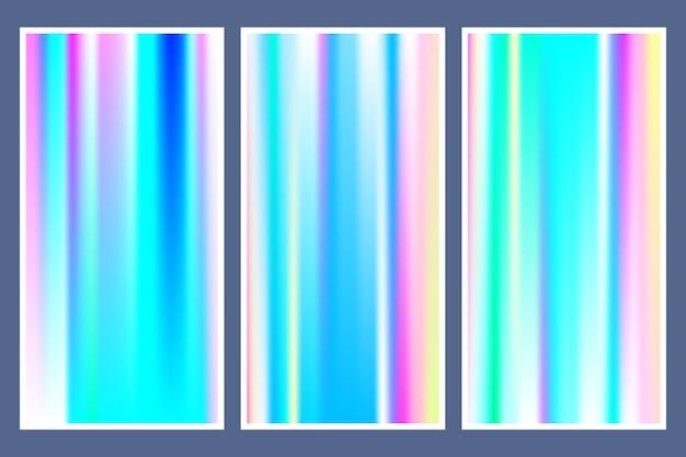 Hologramm-gradientenhintergrund eingestellt mit holographischer abdeckung