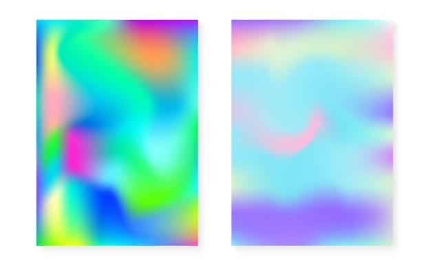 Hologramm-gradientenhintergrund mit holografischer abdeckung. 90er, 80er retro-stil. perlglanz-grafikvorlage für plakat, präsentation, banner, broschüre. futuristischer minimaler hologrammverlauf.