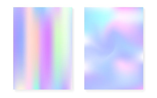 Hologramm-gradientenhintergrund mit holografischer abdeckung. 90er, 80er retro-stil. perlglanz-grafikvorlage für plakat, präsentation, banner, broschüre. kreativer minimaler hologrammverlauf.