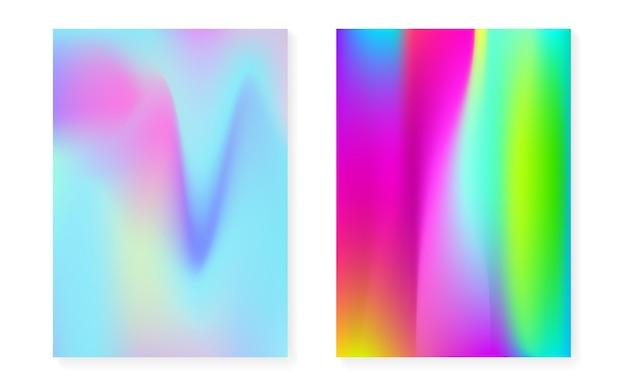 Hologramm-gradientenhintergrund mit holografischer abdeckung. 90er, 80er retro-stil. schillernde grafikvorlage für plakat, präsentation, banner, broschüre. minimaler hologrammverlauf aus kunststoff.
