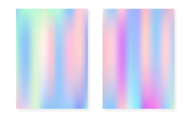 Hologramm-gradientenhintergrund mit holografischer abdeckung. 90er, 80er retro-stil. schillernde grafikvorlage für plakat, präsentation, banner, broschüre. spektrum minimaler hologrammgradient.