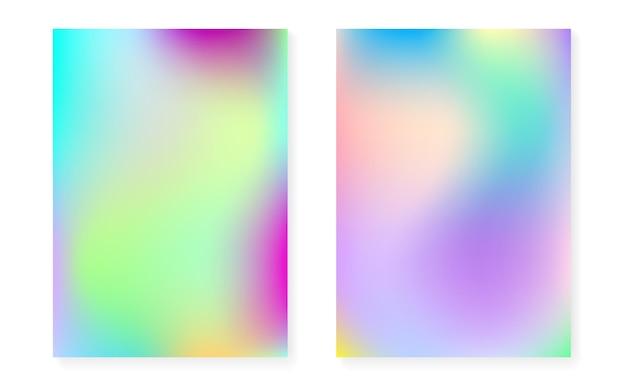 Hologramm-gradientenhintergrund mit holografischer abdeckung. 90er, 80er retro-stil. schillernde grafikvorlage für plakat, präsentation, banner, broschüre. stilvoller minimaler hologrammverlauf.