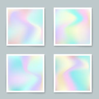 Hologrammhippie-hintergründe eingestellt in pastellfarben