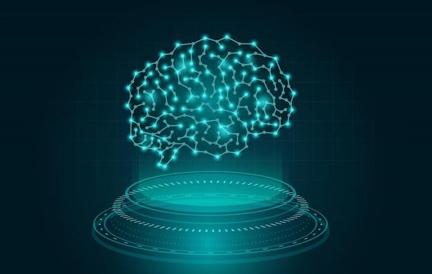 Holographie, die ein digitales gehirn auf blauem thema schafft