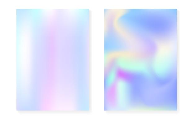 Holographische abdeckung eingestellt mit hologrammgradientenhintergrund.