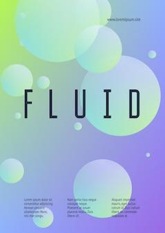 Holographische abdeckung mit radialer flüssigkeit. geometrische form auf steigungshintergrund. moderne hipster-vorlage für plakat, präsentation, banner, flyer, bericht, broschüre. minimale holografische abdeckung, neonfarben.