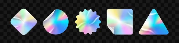 Holographische aufkleber auf transparentem hintergrund Premium Vektoren