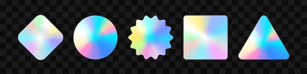 Holographische aufkleber. hologramm-etiketten in verschiedenen formen. aufkleberformen für designmodelle. holografische strukturierte aufkleber für vorschau-tags, etiketten. vektor-illustration
