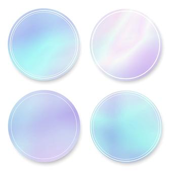Holographische farbverlauf runde frames gesetzt
