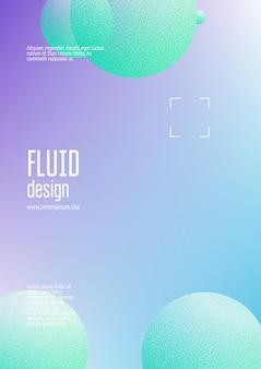Holographische flüssigkeit mit radialen kreisen und halbtonpunktstruktur. geometrische formen auf hintergrund mit farbverlauf