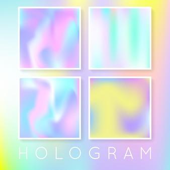 Holographische folienhintergründe eingestellt. flüssiger gradientenhintergrund mit holografischer folie. 90er, 80er retro-stil. perlglanz-grafikvorlage für banner, flyer, cover, mobile schnittstelle, web-app.