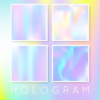 Holographische folienhintergründe eingestellt. hintergrund mit farbverlauf aus kunststoff mit holografischer folie. 90er, 80er retro-stil. schillernde grafikvorlage für broschüre, flyer, poster, wallpaper, handy-bildschirm.