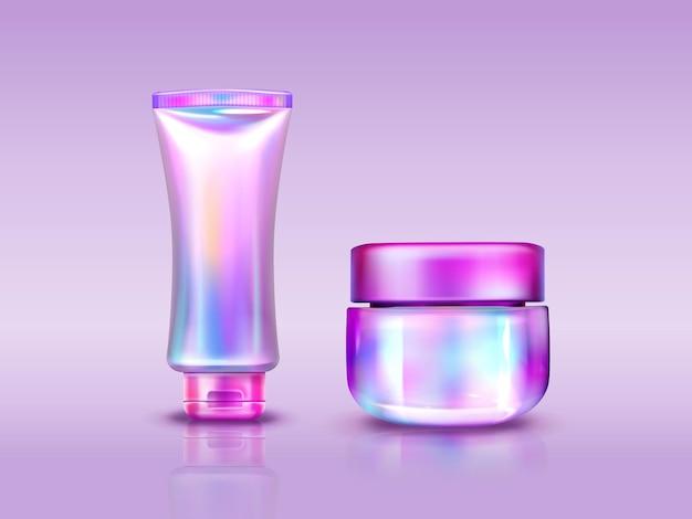 Holographische kosmetikverpackung, schillernde tube und glas