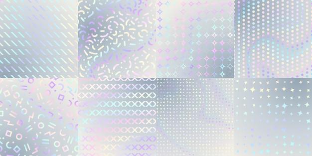 Holographische texturen. schillernde folie, hologramm-postercover oder druck. metallischer regenbogen, abstrakte kunst-gradienten-glitter-muster-vektor-set. illustration textur schillernd, hologramm hintergrund