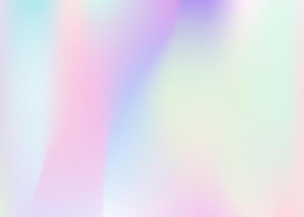 Holographischer abstrakter hintergrund. mehrfarbiger holografischer hintergrund mit verlaufsgitter. 90er, 80er retro-stil. perlglanz-grafikvorlage für broschüre, banner, tapete, handy-bildschirm.