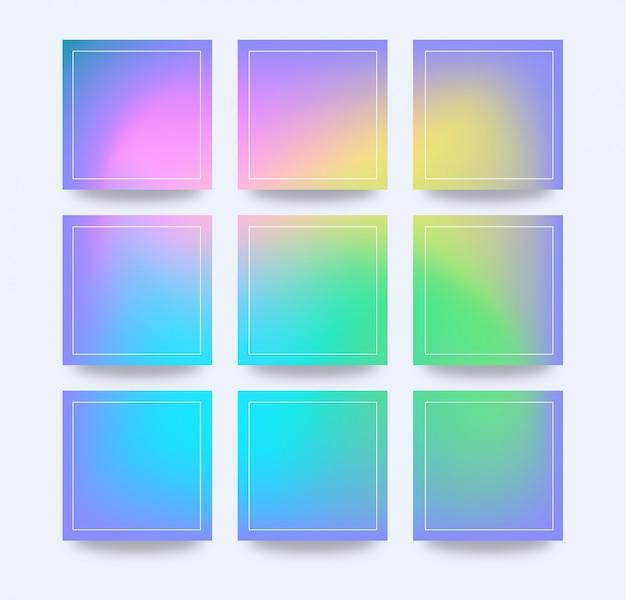 Holographischer bunter farbverlaufsrasterhintergrund für soziale medien und fahnenpost