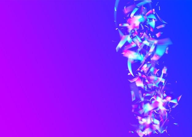 Holographischer effekt. helle textur. lila blur blendung. party-design. einhorn folie. fiesta-kunst. disco-weihnachtsdekoration. transparentes konfetti. violetter holografischer effekt
