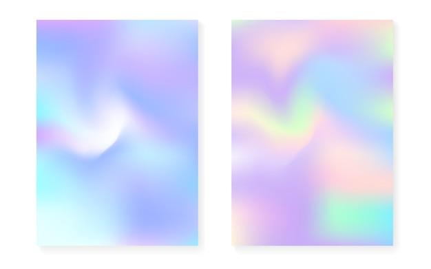 Holographischer gradientenhintergrund eingestellt mit hologrammabdeckung.