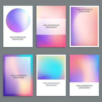 Holographischer hintergrund mit farbverlauf und hologrammabdeckung Kostenlosen Vektoren