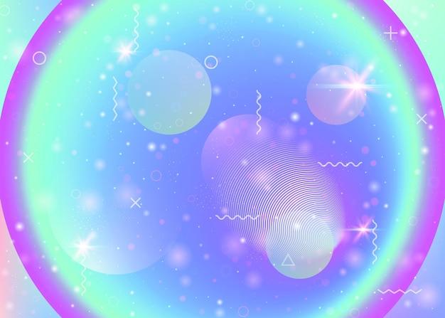 Holographischer hintergrund mit lebendigen regenbogenverläufen. dynamische flüssigkeit. kosmos-hologramm. grafikvorlage für broschüre, präsentation und plakat. mädchenhafter holographischer hintergrund.