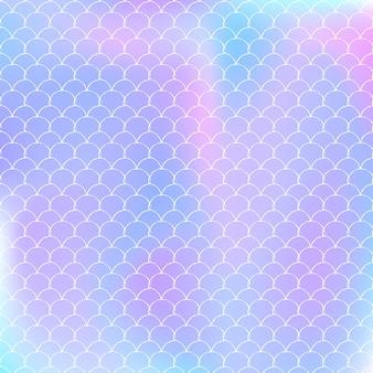 Holographischer meerjungfrauenhintergrund mit steigungsskalen. helle farbübergänge.